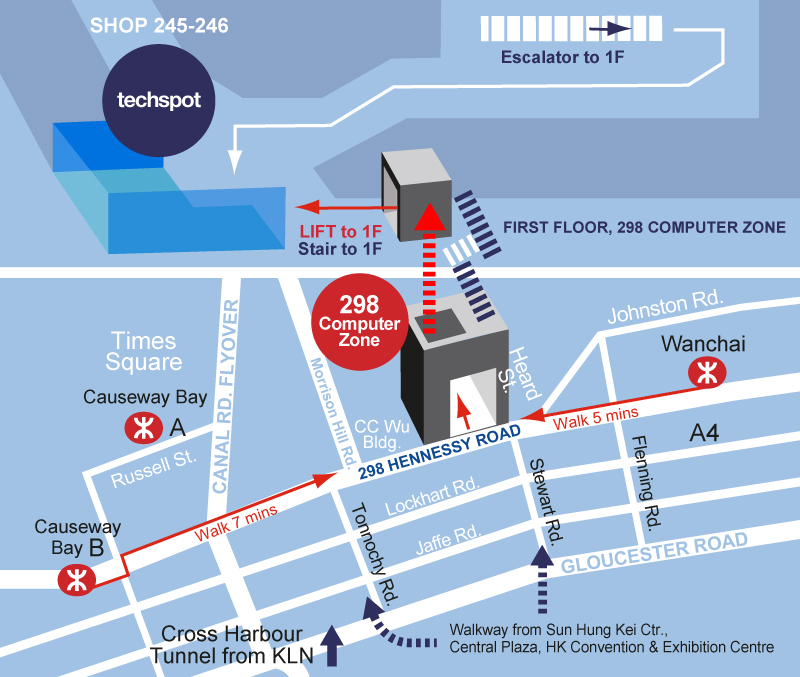 Location Map to Techspot at 298 Computer Zone in Wanchai